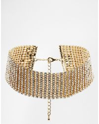 ASOS - Metallic Limited Edition Glam Choker Necklace with Swarovski Stone - Lyst