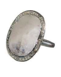 Adornia - White Gemstone And Champagne Diamond Perry Ring - Lyst