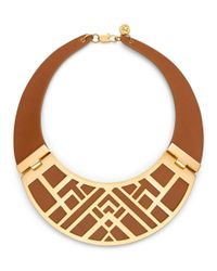Tory Burch Metallic Aislin Leather Collar Necklace