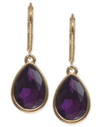 Nine West | Purple Gold-Tone Amethyst-Colored Teardrop Earrings | Lyst