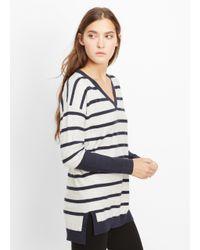 Vince - Blue Slub Cotton Block Stripe Slim V-neck Sweater - Lyst