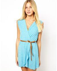 Wal-G | Blue Wrap Dress with Belt | Lyst
