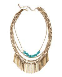 Panacea - Blue Tiered Bib Fringe Necklace - Lyst