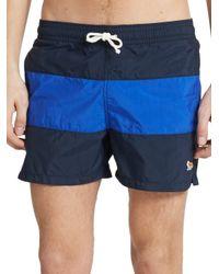Maison Kitsuné - Blue Striped Swim Trunks for Men - Lyst