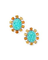 Stephen Dweck | Blue Carved Turquoise Clip-on Earrings | Lyst
