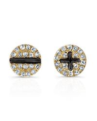 Anne Sisteron | Metallic 14kt Yellow Gold Diamond Hardware Stud Earrings | Lyst