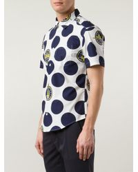 KENZO - Blue 'Dots & Logo' Shirt for Men - Lyst