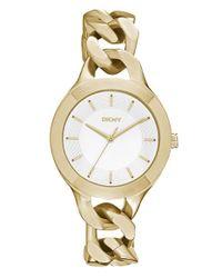 DKNY | Metallic 'chambers' Round Chain Bracelet Watch | Lyst