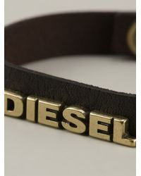 DIESEL - Brown Logo Bracelet for Men - Lyst