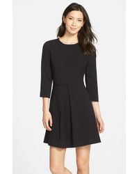 Eliza J | Black Pleated Crepe Fit & Flare Dress | Lyst