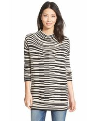 NIC+ZOE | Metallic 'stacked Stripes' Cotton Blend Mock Neck Top | Lyst