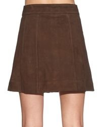 FRAME - Brown Le Panelled Suede Skirt - Lyst