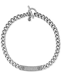 Michael Kors | Metallic Silver-Tone Reversible Pavé And Logo Plaque Toggle Necklace | Lyst