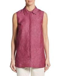 Lafayette 148 New York | Pink Senara Linen Blouse | Lyst