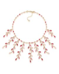 Carolee | Pink Leaf Bib Necklace | Lyst