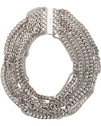 Saint Laurent | Metallic Twisted Gourmette Collar Necklace | Lyst