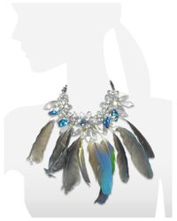 Anabela Chan | Blue Crystals And Feathers Necklace | Lyst