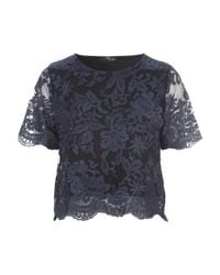 Jane Norman | Blue Scalloped Lace Co-ord Top | Lyst