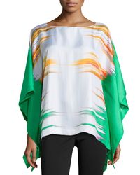 Natori - Multicolor Printed Prism Silk Caftan Top - Lyst