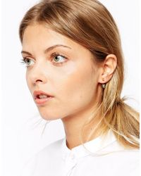 ASOS | Metallic Gold Plated Sterling Silver Open Spike Swing Earrings | Lyst