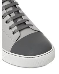 Lanvin | Gray Contrasting Toe Cap Leather Mid-Top Sneakers for Men | Lyst