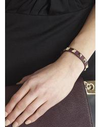 Valentino - Brown Rockstud Bordeaux Leather Bracelet - Lyst