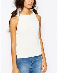 Daisy Street | Natural Halter Neck Knit Rib Top | Lyst