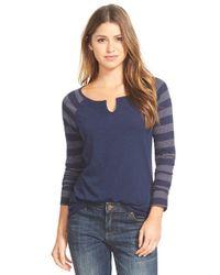 Caslon - Blue Striped Sleeve Split Neck Tee - Lyst