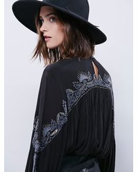 Free People - Black Embr Deep V Blouse - Lyst