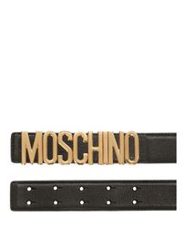 Moschino | Black 35mm Logo Lettering Leather Belt for Men | Lyst