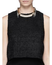 Venna - Metallic Crystal Pearl Spike Collar Necklace - Lyst
