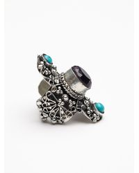 Free People - Blue Filigree Statement Stone Ring - Lyst