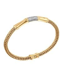 John Hardy | Metallic Bamboo 18k Gold & Diamond Station Bracelet | Lyst
