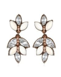 Suzanna Dai | White Luxembourg Small Drop Earrings, Ivory/crystal | Lyst