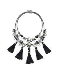 Marchesa   Black 'dahlia' Tassel Bib Necklace   Lyst