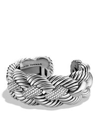 David Yurman | Metallic Woven Cable Wide Cuff With Diamonds | Lyst