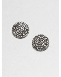 David Yurman | Metallic Diamond Accented Sterling Silver Button Earrings | Lyst
