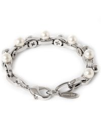 Joomi Lim - White Double Row Chain Pearl Bracelet - Lyst