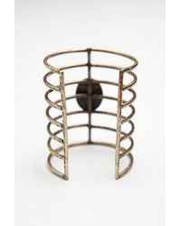 Free People | Metallic Womens Caged Stone Cuff | Lyst