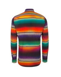 Paul Smith - Metallic Men's Rainbow 'blanket Stripe' Print Cotton And Wool-blend Shirt for Men - Lyst