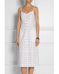 SUNO - White Cotton Fil Coupé Midi Dress - Lyst