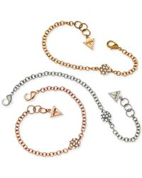 Guess | Metallic Tri-tone Crystal Circle Charm Bracelet Set | Lyst
