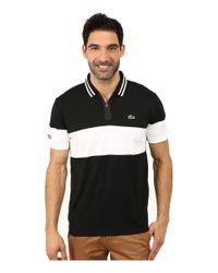 Lacoste | Black Sport Short Sleeve Ultra Dry Chest Stripe Polo for Men | Lyst
