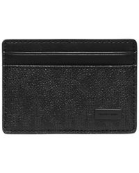 Michael Kors - Black Jet Set Shadow Signature Card Case With Money Clip for Men - Lyst