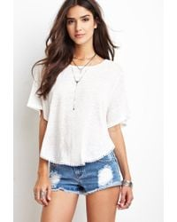Forever 21 - Blue Distressed Denim Cutoffs - Lyst