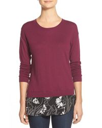 Halogen - Purple Woven Hem Layered Look Sweater - Lyst