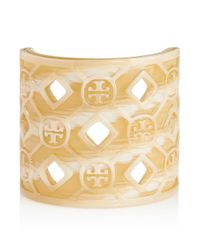 Tory Burch | Natural Perforated Resin Logo Cuff | Lyst