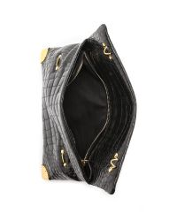 Golden Lane - Croc Duo Clutch Black - Lyst