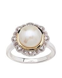 Lord & Taylor | Metallic Sterling Silver And 14kt Rose Gold Pearl Ring With Diamonds | Lyst
