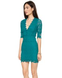 Nightcap - Blue Florence Lace Deep V Dress With 3/4 Sleeves - Lyst